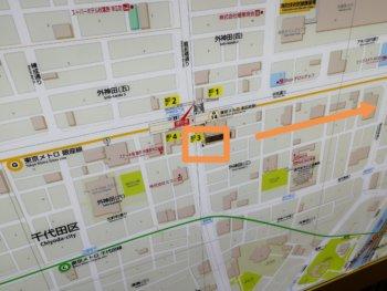 末広町からワンカラへの地図