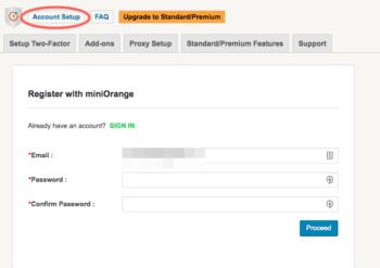 miniorangeの登録画面